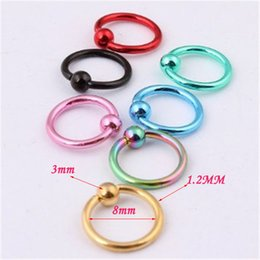 Nose Bar Piercing Canada - 2016 Fashion stainless steel Nose bar Mix 8 Color 50pcs 16G Captive Bead hoop ring Clip Ear lip Piercing Body Jewelry
