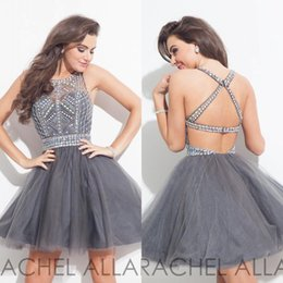 Gris Sexy Pas Cher-À bas prix 2016 Short Mini Robes de cocktail Homecoming Custom Made Gris Perles de Cristal Tulle Backless Robes de cocktail robe de bal