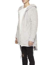 Flannel Hoodie UK - Streetwear Thicking Long Sleeve With a Hood Flannel Men Jackets   Zipper Sleeve String Men Long Hoodie Cardigan Black Grey Size S-XXL
