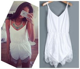 strapless white jumpsuit shorts NZ - Summer White Irregular romper Sexy V-Neck Strapless White Lace Cropped Jumpsuit Bodysuit macacao female Shorts Irregular black Romper
