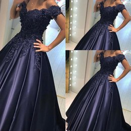 Barato Luva Do Tampão Do Azul Marinho Formal-Elegante 2017 New Sexy Blue Blue Prom Dresses Sweetheart Cap Sleeves Lace Appliques Beaded Zipper Back Party Dress Vestidos de noite formais