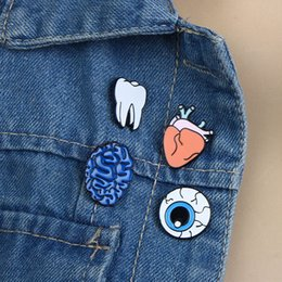 eye pin accessories UK - Women Eye Heart Brain Human Organs Brooch for women Collar Pin Jewelry Accessories Christmas Gift brooches para as pin for men