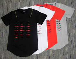 $enCountryForm.capitalKeyWord NZ - Damaged Ripped Cutting Hole Summer Novelty Men Lengthen Extended T shirt With Plaid Padded double zipper Tee Man