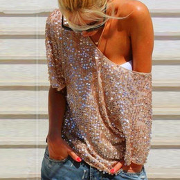 Barato Tops Brilhantes Das Mulheres-Sexy Summer Women Ladies Sequin Bling Shiny Casual Blusa O Neck Half Sleeve Clubwear Tops