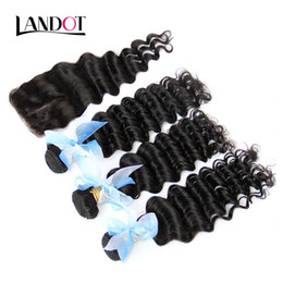 $enCountryForm.capitalKeyWord UK - Filipino Deep Wave Curly Virgin Hair With Closure 4Pcs Unprocessed Deep Wave Human Hair Weave Bundles And Top Lace Closures Free Middle Part