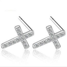 China Top Grade Silver Earrings Girl Hot Sale Crystal Crosses Stud Earrings for Wedding Party Fashion Jewelry Wholesale Free Shipping - 0020WH cheap copper earrings for sale suppliers