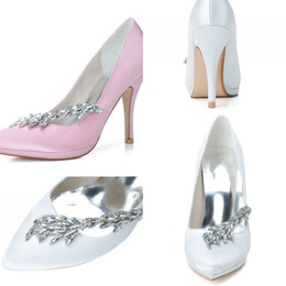 Cheap Silver High Heel Shoes Canada - 0255-19 Elegant Fashion High Heels Wedding Dresses Sparkly Crystal Pointed Toe For Women Party Prom Shoes High Quality Cheap