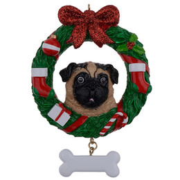 $enCountryForm.capitalKeyWord UK - Maxora Yellow Pug Dog Resin Crafts Shiny Personalized Christmas Ornament Hand Painted For Pug Owners gifts or Home Decor