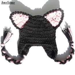 $enCountryForm.capitalKeyWord Canada - Black Cat Earflap Hat,Handmade Knit Crochet Baby Boy Girl Kitten Ears Animal Hat,Kawaii Anime Costume,Halloween Costume,Infant Photo Prop