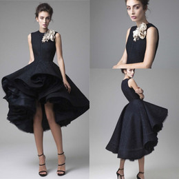 Barato Vestido De Baile Alto Vestido Baixo-2016 Krikor Jabotian curto vestidinhos pretos Cocktail Party Jewel escuro do pescoço da marinha mangas High Low Ball vestido formal Prom Dress