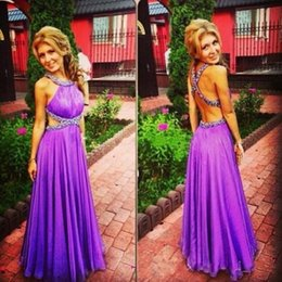 Purple Halter Formal Evening Dresses Canada - Sexy Backless Purple Beaded Prom Dresses 2016 Halter Chiffon Cutaway Sides A Line Evening Gowns Floor Length Formal Party Dresses