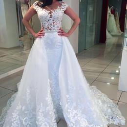 $enCountryForm.capitalKeyWord Canada - Elegant White 2018 New Wedding Dress Sheer Neck Cap Sleeves Illusion Bodices Bridal Gowns For Garden Beach With Detachable Overskirts BA7270