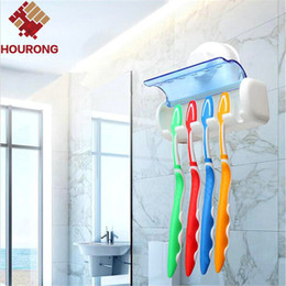 Discount plastic toothbrush stands - Wholesale- 1pcs 5 Holes Toothbrush Holder Suction Hook Household Items Toothbrush Rack Bathroom Set Wall Mount Stand Too