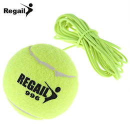 Wholesale-Single Package Drill Tennis Trainer Tennis Ball with String Replacement High Quality Rubber Woolen Training Tennis Balls on Sale