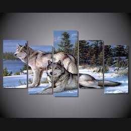 Canvas Prints Free Shipping Australia - 5 Pcs Set Framed Printed The Wolf couples to visit Painting Canvas Print room decor print poster picture canvas Free shipping ny-4506
