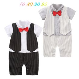 $enCountryForm.capitalKeyWord NZ - 2017 short sleeve rompers baby boy clothes bow knot birthday party suit vest romper infant boy cute toddler boys clothes overall