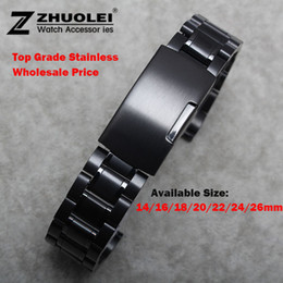 $enCountryForm.capitalKeyWord Canada - Wholesale-New Watch Band Womens Men 14mm 16mm 18mm 20mm 22mm 24mm Buckle Black Stainless Steel Watch Band Strap Straight End Bracelet