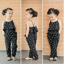 Amor Rizado Corazón Baratos-Baby Girls Jumpsuit 2016 Summer Baby Girl Rompers Algodón Amor Melocotón Heart Ruffle Jumpsuit Larga Pantalones Suspenders Casual Infantil Jumpsuits 363