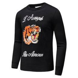 online shopping 2017 new men s Black striped knit wool sweater Tiger embroidered sweatshirt Top man brand sports sweater Long sleeved coat jacket