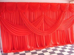 silk backdrops 2019 - 4M*8M Fashion Ice Silk Wedding Backdrop Curtains with Swag 40 Colors in Stock For Wedding Decorations Free Shipping chea