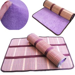 korean bedding Canada - 2 in 1 Cool Bamboo Puppy Bed Mat Square Cat Dog Beddings Bamboo Fleece Sheet Summer Cooling Mats Pads for Dogs, Random Color