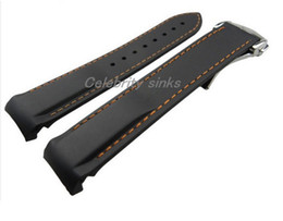 Discount panerai rubber 22mm NEW Black With Orange stitched Diver Rubber band strap with deployment clasp For Omega