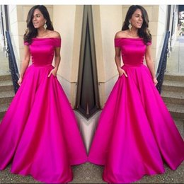 Robes Sur Mesure En Satin Pas Cher-Hot Fuchsia Pink Prom Dress Off Shoulder Long A Line Robe de nuit New Arrival Custom Made Party Dresses