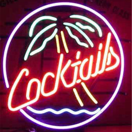 Cocktail Light Sign Canada - 17*14 inches Palm Tree DIY LED Glass Neon Sign Flex Rope Light Indoor Outdoor Decoration for Cocktails RGB Voltage 110V-240V