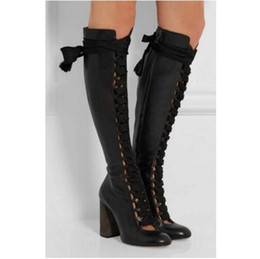 $enCountryForm.capitalKeyWord NZ - 2017 women fashion boots knee high booties lace up boots leather heel tall glaiator booties dress