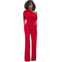 d3b171ca1a8 New Fashion One Shoulder Elegant Jumpsuits Women Plus Size XXL Rompers  Womens Jumpsuits Half Sleeve Female Overalls 0004 One Piece Bodysuit