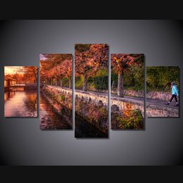 Pictures Sunsets Scenery NZ - 5 Panel HD Printed Scenery sunset walk alleya reka Painting Canvas Print room decor print poster picture canvas cheap modern paintings