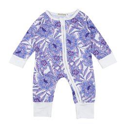 edda0e2267e2 INS Baby girl Kids Toddler Long Sleeve clothes clothing Purple Lotus Floal Print  Romper Onesies Jumpsuits Ruffles