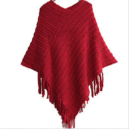 long fringe scarf wholesale Canada - Wholesale-2016 Women Ladies Cape Coat Fringe Poncho Oblique Stripe Coat Bohemian Shawl Scarf KR1