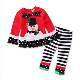 fcf7af729 long sleeve baby girls Xmas Outfits Children Christmas 2pcs sets clothes  white sanda reindeer tree dress striped ruffle pants free shipping