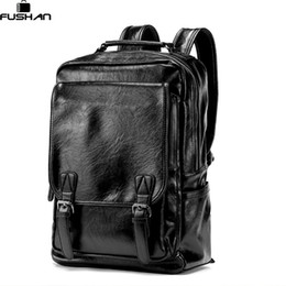 $enCountryForm.capitalKeyWord Canada - New Arrival Vintage Men PU Leather Backpacks Large Capacity Zipper Solid Backpack for Teenagers High Quality Black Shoulder Bags