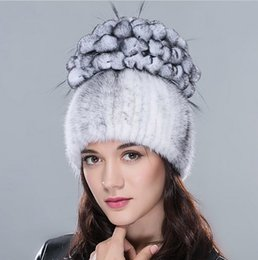 Beanies For Winter Canada - Fur hats for women winter mink fur hat with rabbit fur flowers top warm knitted beanies 2015 new arrival women real fur caps