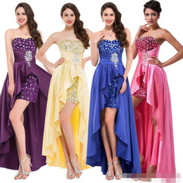 Pink High Low Party Dresses Canada - Fashion High Low Evening Dresss 2019 Short Front Beaded Sequin Formal Dresses Red Pink Purple Royal Blue Long Gowns Party Gowns