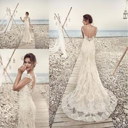 dab9aa7f6781a 2018 Gorgeous Eddy K Wedding Dresses Sheath Mermaid V Neck Capped Sleeves  Backless Lace Wedding Gowns Custom Made