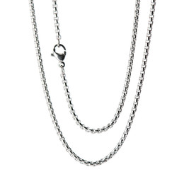 """China 10pcs super lowest price Silver Stainless Steel 24"""" 2mm 3mm 4mm box necklace Chain cheap steel pearl suppliers"""