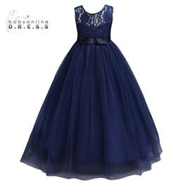 Vente en gros Bleu marine pas cher robes de fille de fleur 2019 En Stock Princesse Une ligne sans manches enfants Toddler Première robe de Communion avec ceinture