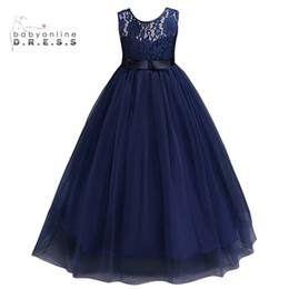 Communion flower online shopping - Navy Blue Cheap Flower Girl Dresses In Stock Princess A Line Sleeveless Kids Toddler First Communion Dress with Sash MC0889