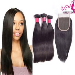 "3pcs hair closure 2019 - 8""-28"" Full Head 4PCS Lot Brazilian Virgin Human Hair Lace Closure With Bundles 3PCS+1PC Top Closures Piece 4*"