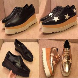 Vente chaude New Stella Mccartney Chaussures Femmes Top Qualité En Cuir Véritable Femmes Mode Plate-forme Plateforme Compensée Sneakers Taille 34-40 en Solde