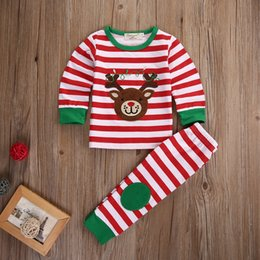 Barato Camisas De Listras-Atacado- 2Pcs Kids Boys Girls Bear-Deer Conjunto de roupa de Natal Children Kid Cartoon Stripe Xmas T-shirt + Stripe Pants Roupas de treino