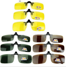 Discount polarized clip flip up - Wholesale-New Polarized Day Night Vision Clip-on Flip-up Lens Driving Glasses Sunglasses