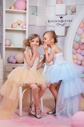 4t Strapless Pageant Dress Canada - 2016 Flower Girl Dresses Children Strapless High Low Kids Girl Dress Tulle Lace Fairy Pageant Dress Country Custom made