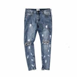 098683777a ... Lavado clásico para hacer daño antiguo jeans cremalleras de los hombres  flacos agujeros de ajuste delgado estilo salpicado tinta algodón Denim  rasgado