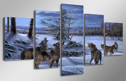 canvas prints free shipping NZ - 5 Pcs Set Framed Printed Snow wolves Painting Canvas Print room decor print poster picture canvas Free shipping ny-5001