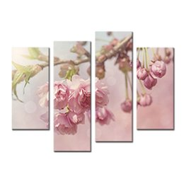 pictures peonies UK - Amosi Art-4 Pieces Art Gallery Painting Pink Peonies Picture Print On Canvas Flower The Picture For living room Decoration(Wooden Framed)
