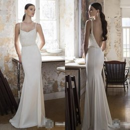 Discount simple silk wedding dresses 2017 simple elegant silk 2016 backless wedding dresses custom made spaghetti straps court train sexy cheap wedding gowns vintage country wedding dress with sash junglespirit Images